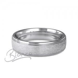 Palladium Patterned Wedding Rings 950 - D Profile