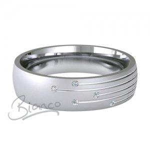 Palladium Court Diamond Wedding Rings Motum Pattern 5 or 6mm