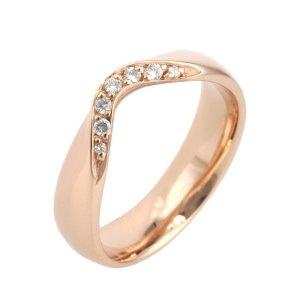 18ct Rose Gold Ladies Shaped Diamond Wedding Ring
