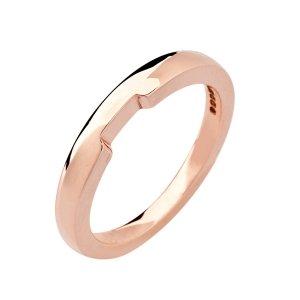 18ct Rose Gold Ladies Shaped Wedding Ring
