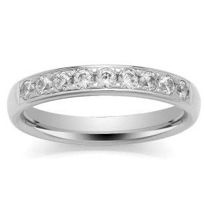 18ct White Gold Eternity Ring - Grain Set