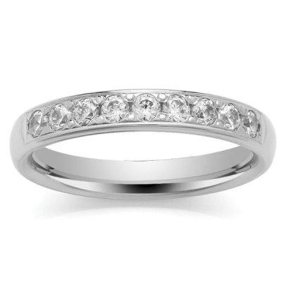 9ct White Eternity Ring - Grain Set