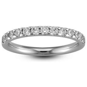 9ct White Gold Wedding Rings Diamond Inlaid