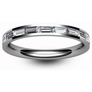 9ct White Gold Half Eternity Ring Baguette Diamond