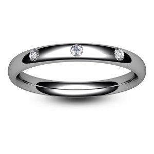 18ct White Gold Three Diamond Wedding Ring
