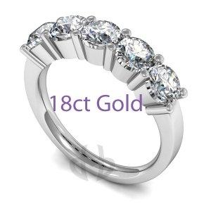 Five Stone Diamond Eternity Rings - 18ct Gold
