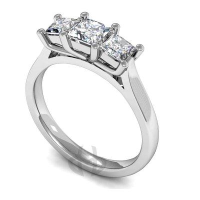 9ct Gold Diamond Engagement Ring Princess Trilogy