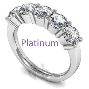 Five Stone Diamond Eternity Rings - Platinum