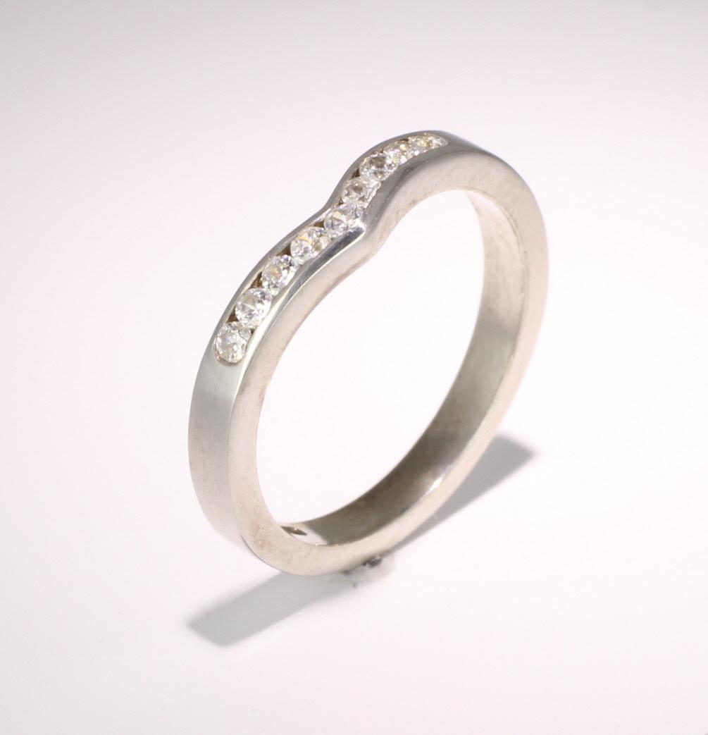 Shaped Diamond Wedding Ring (18.R939.Di.9) 18ct White Gold