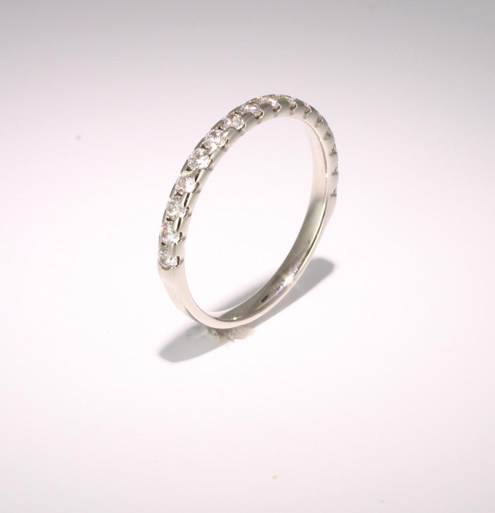 18ct White Gold 0.50ct Brilliant HSI Diamond Half Eternity - 2.9mm Band - Claw Set