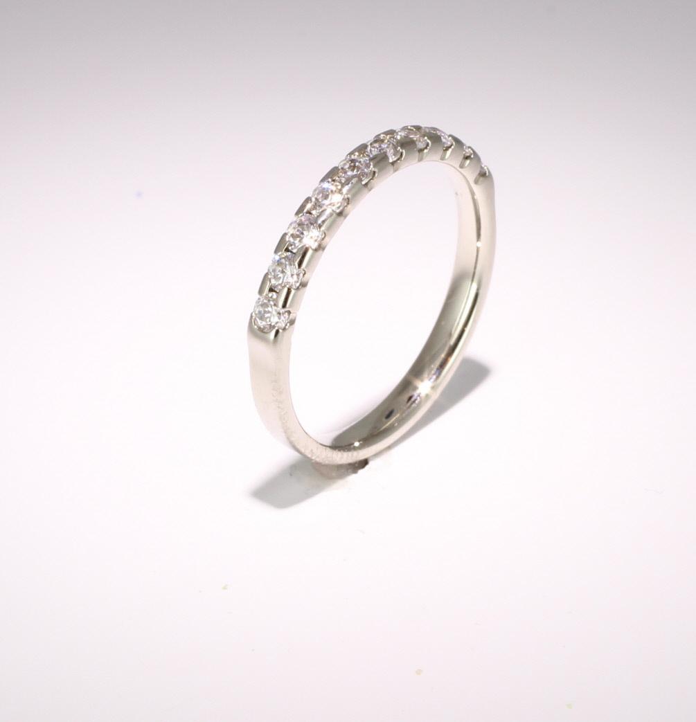 18ct White Gold 0.50ct Brilliant HSI Diamond Half Eternity - 3.3mm Band - Claw Set