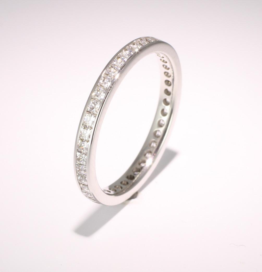 9ct White Gold Full Eternity Princess Diamond Ring