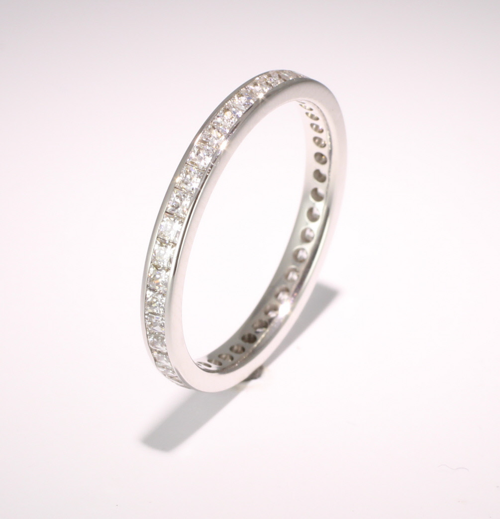 Palladium Full Eternity Princess Diamond Ring
