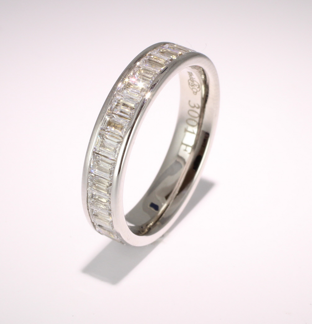 Palladium Full Eternity Baguette Cut Diamond  Ring