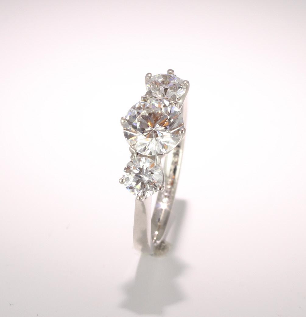 Palladium Diamond Engagement Ring Trilogy