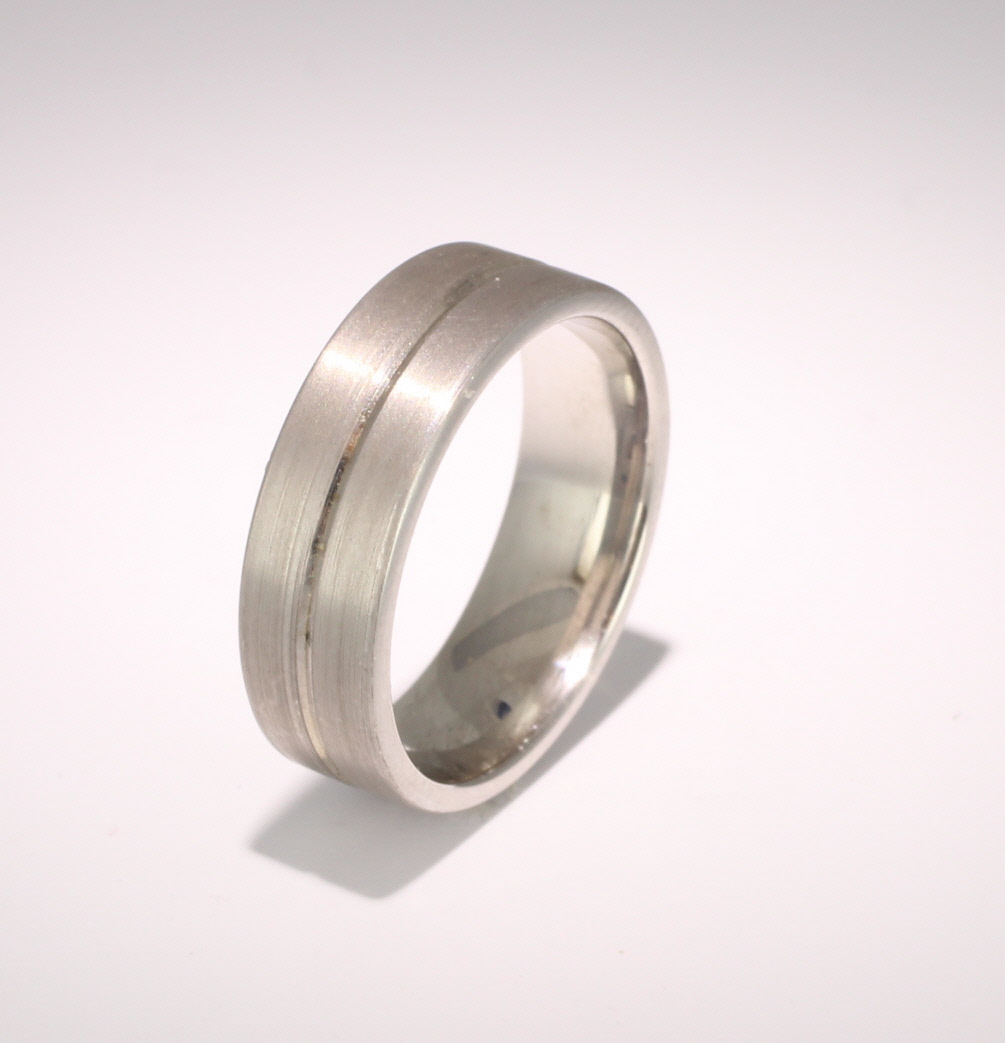 Patterned Designer White Gold Wedding Ring - Amore