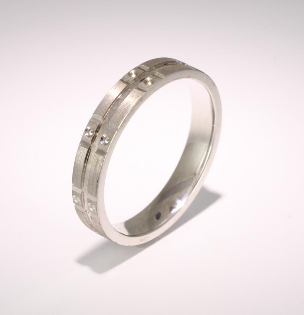 Patterned Designer White Gold Wedding Ring - Similie