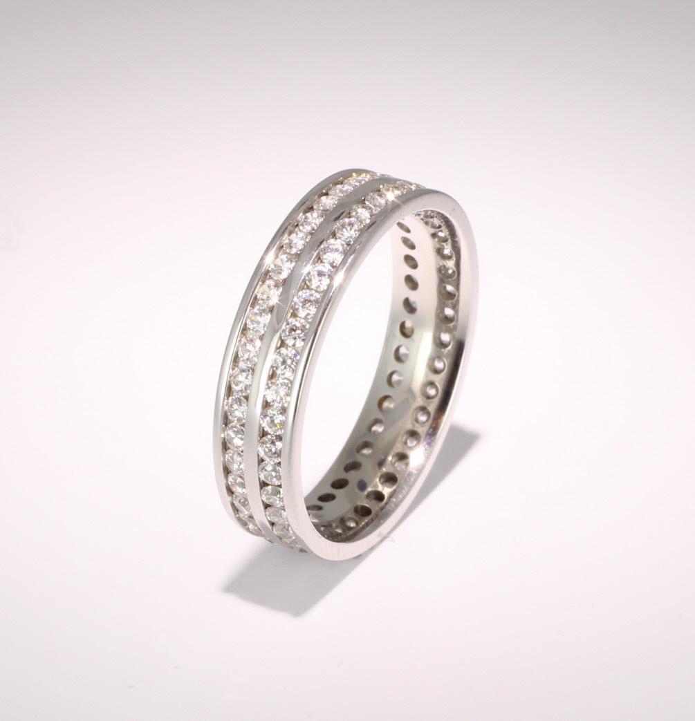 Palladium Full Eternity Brilliant  Diamond  Ring