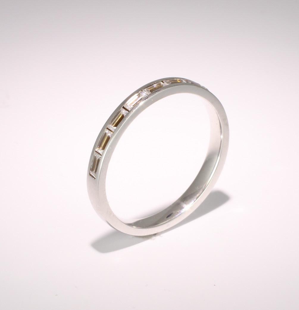 18ct White Gold Half Eternity Ring Baguette Diamond