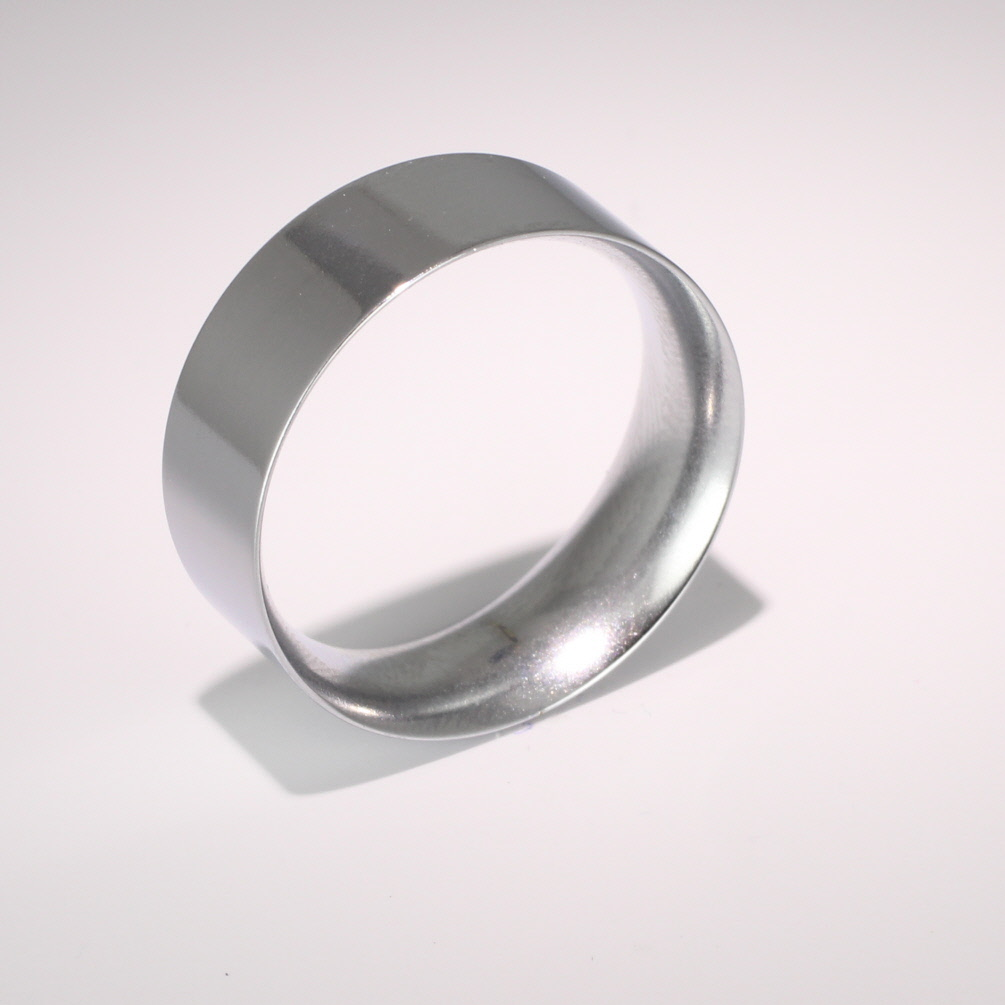 Flat Court Medium -  8mm Platinum Wedding Ring (Plat or Pall)