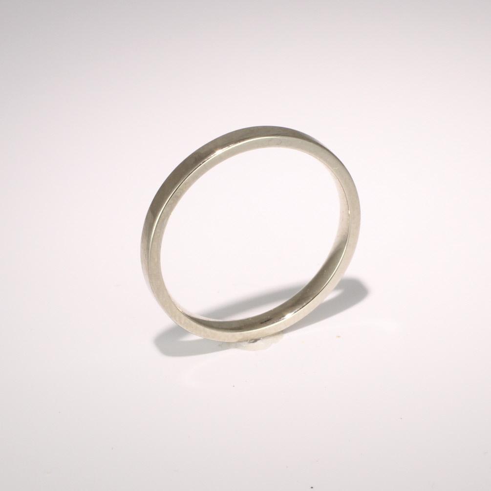 Flat Court Light -  2mm (FCSL2) 18ct White Gold Wedding Ring