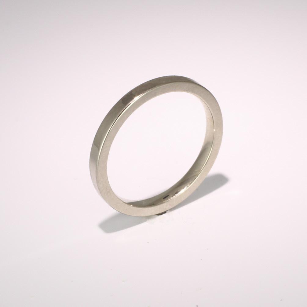Flat Court Medium -  2mm (FCSM2) 18ct White Gold Wedding Ring