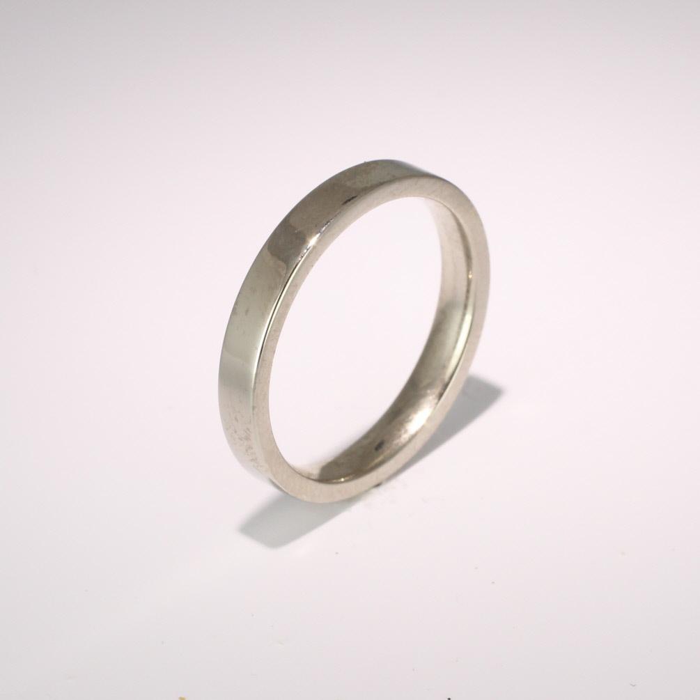 Flat Court Medium -  3mm (FCSM3) 18ct White Gold Wedding Ring