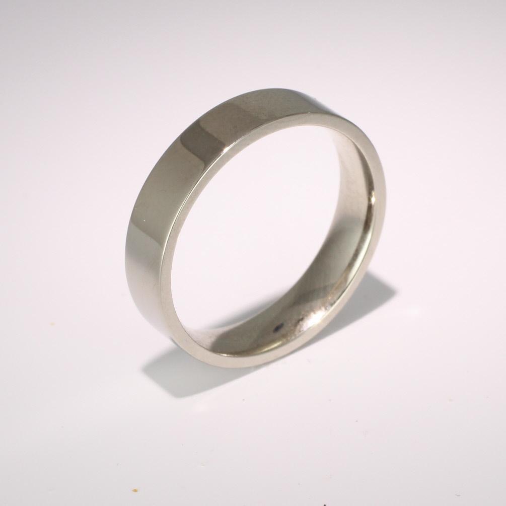 Flat Court Medium -  5mm (FCSM5) 18ct White Gold Wedding Ring