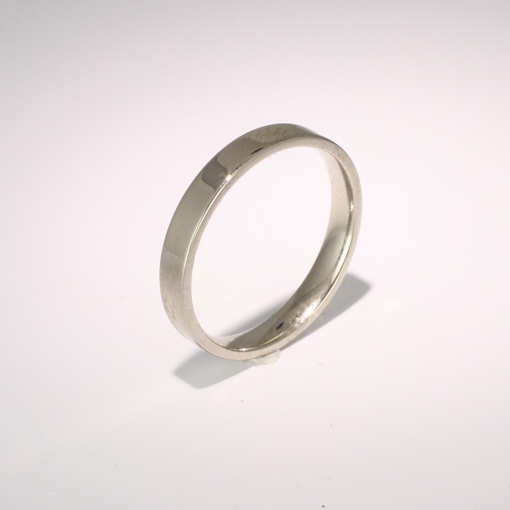 Flat Court Light -  3mm (FCSL3 W) White Gold Wedding Ring