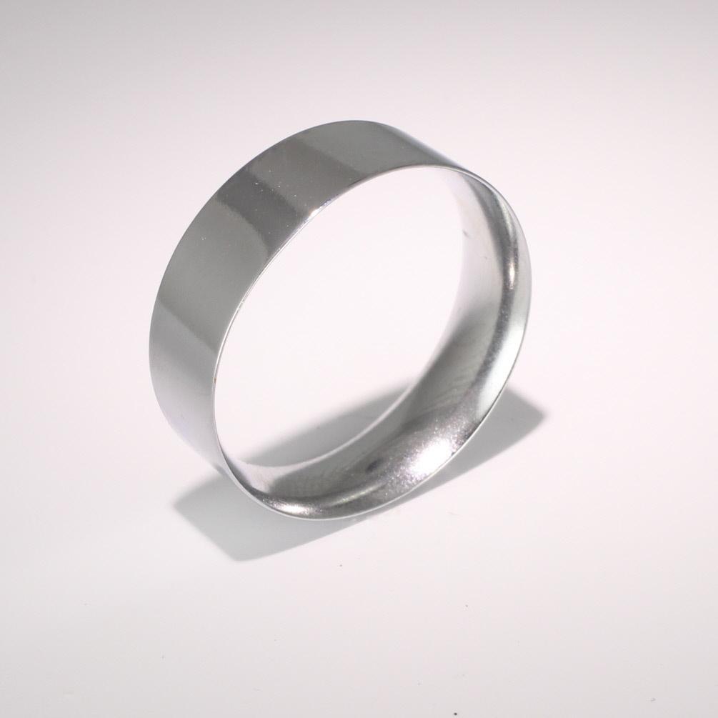 Flat Court Light -  7mm (FCSL7 W) White Gold Wedding Ring