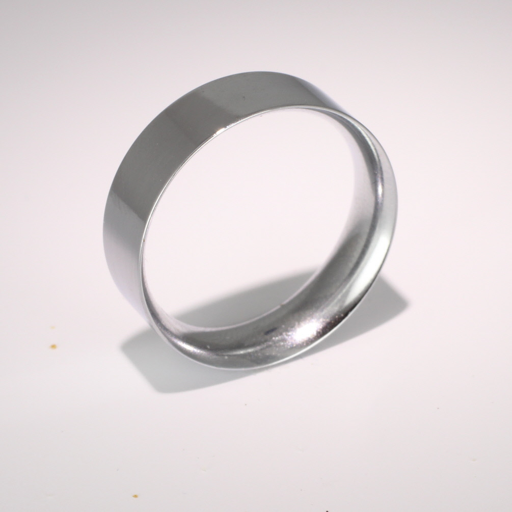 Flat Court Medium -  7mm (FCSM7 9W) 9ct White Gold Wedding Ring