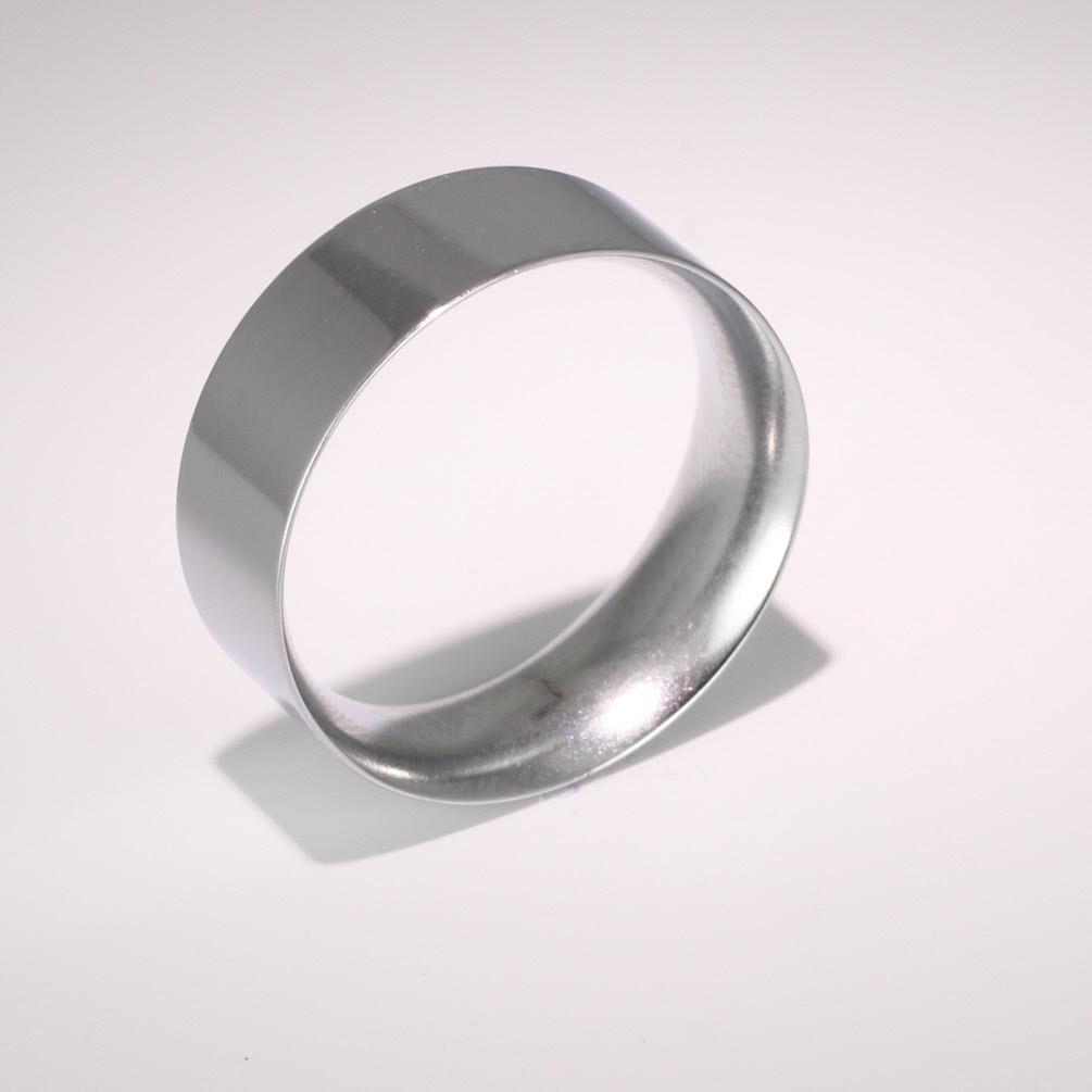 Flat Court Medium - 8mm (FCSM8 W) White Gold Wedding Ring