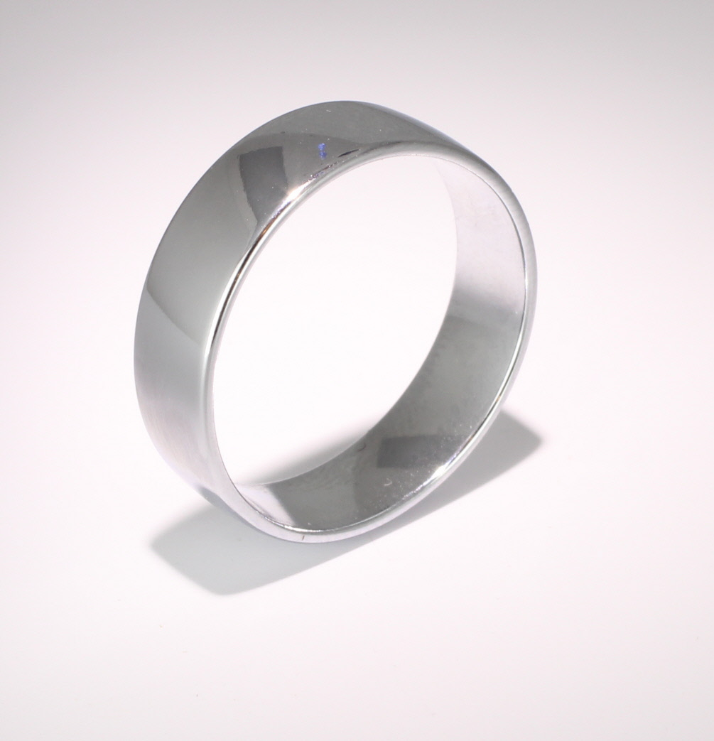 Slight or Soft Court Light -  7mm Platinum Wedding Ring (Plat or Pall)
