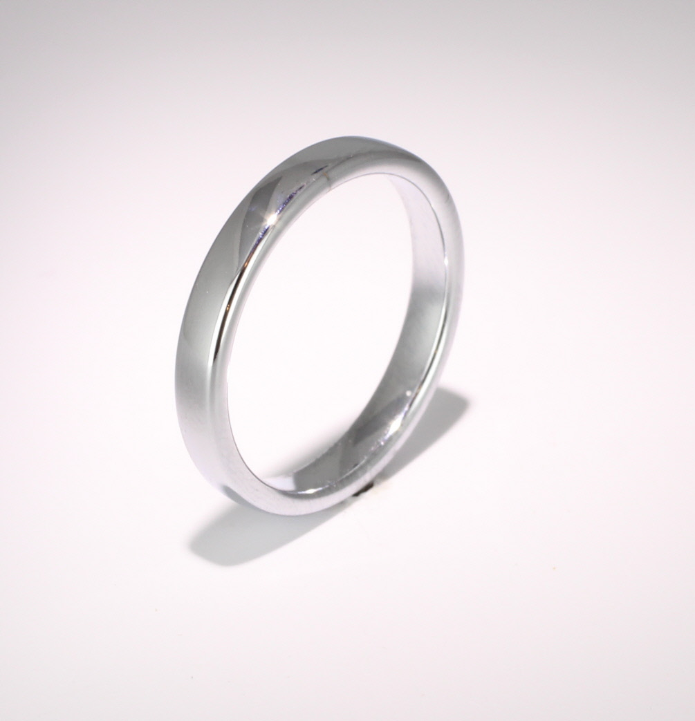 Slight or Soft Court Medium -  3mm Platinum Wedding Ring (Plat or Pall)