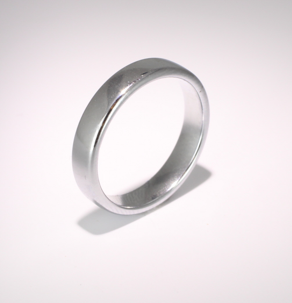 Slight or Soft Court Medium -  4mm Platinum Wedding Ring (Plat or Pall)