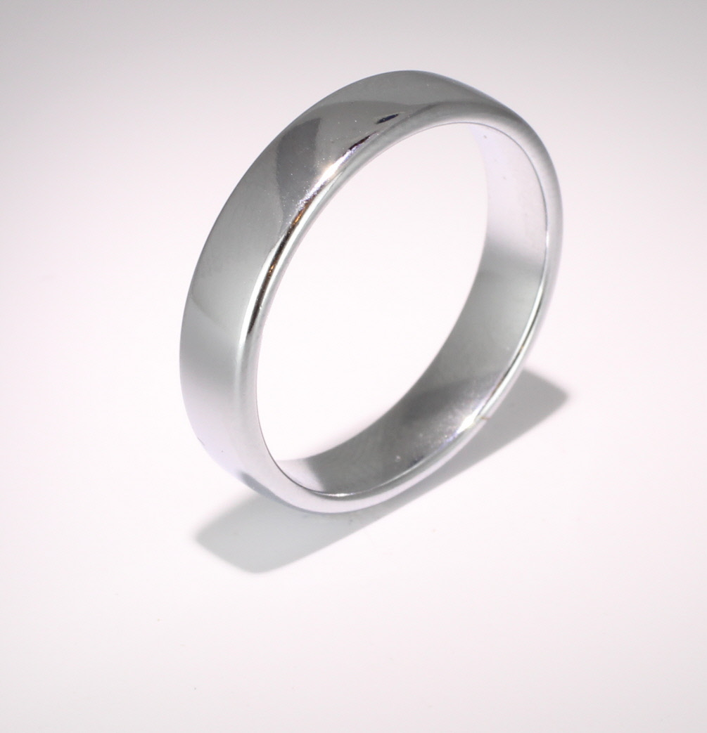 Slight or Soft Court Medium -  5mm Platinum Wedding Ring (Plat or Pall)
