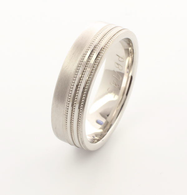 Patterned Designer White Gold Wedding Ring - Carmen