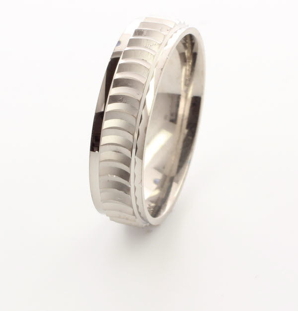 Patterned Designer White Gold Wedding Ring - Lusso