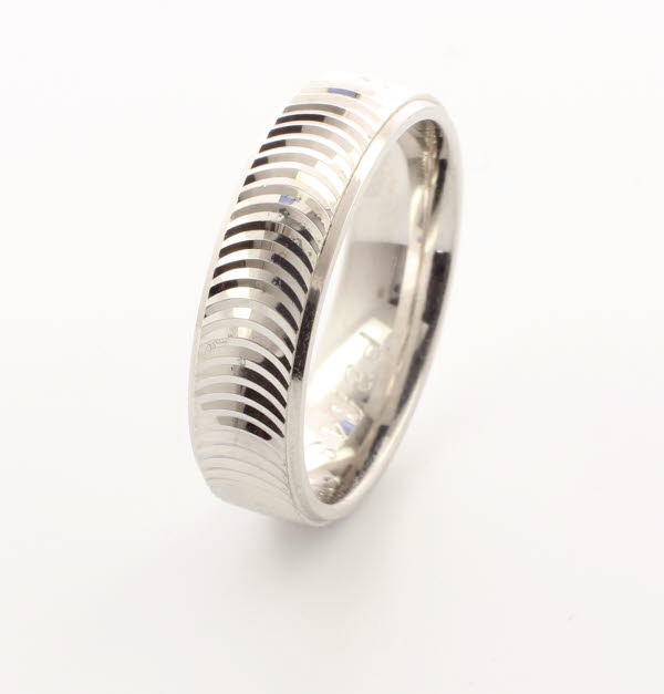 Patterned Designer White Gold Wedding Ring - Sesso