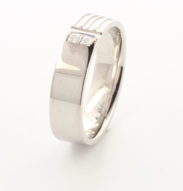 Patterned Designer White Gold Wedding Ring - Extollo