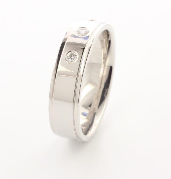 Beaute 5 or 6mm Flat Court 18ct White Gold Diamond Wedding Ring