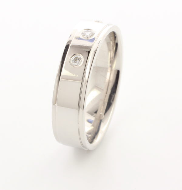 Patterned Designer Palladium Wedding Ring Beaute