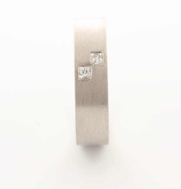 Querido 5 or 6mm Flat Court 18ct White Gold Diamond Wedding Ring