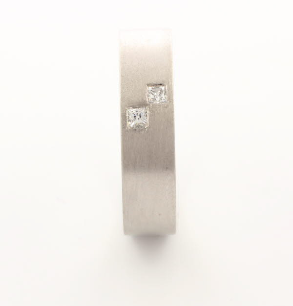 Patterned Designer White Gold Wedding Ring - Querido