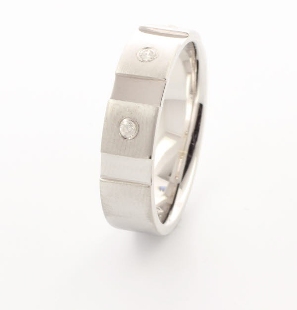 Patterned Designer White Gold Wedding Ring - Contatto