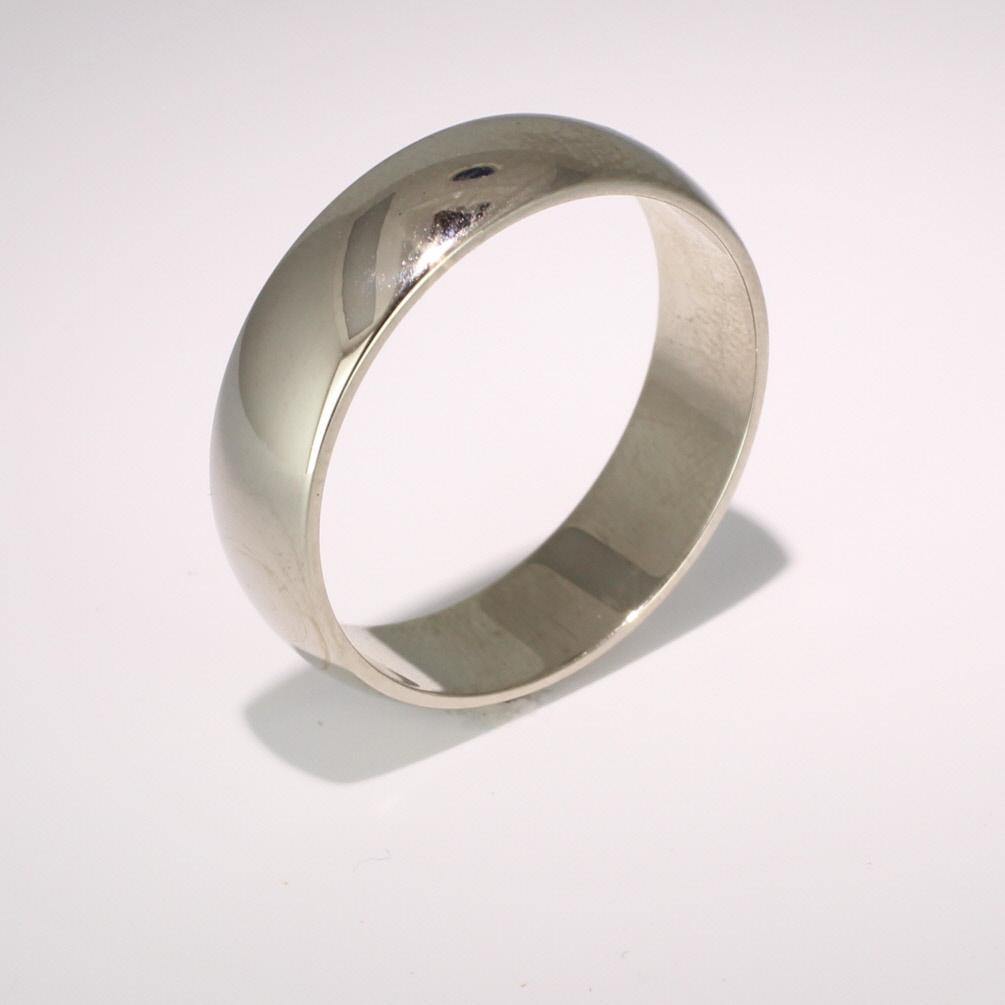 D Shape Medium -  6mm (HD6) 18ct White Gold Wedding Ring
