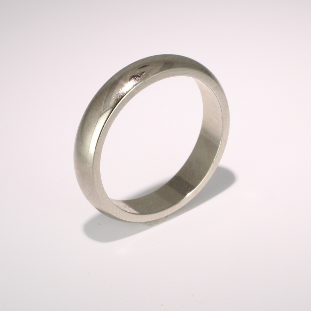 D Shaped Heavy - 4mm (DSH4) 18ct White Gold Wedding Ring