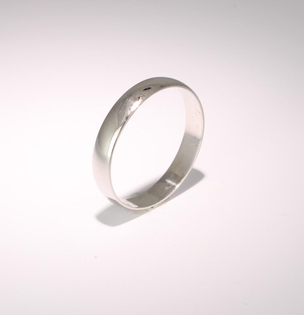D Shape Light Weight - 3mm Platinum Wedding Ring (Plat or Pall)