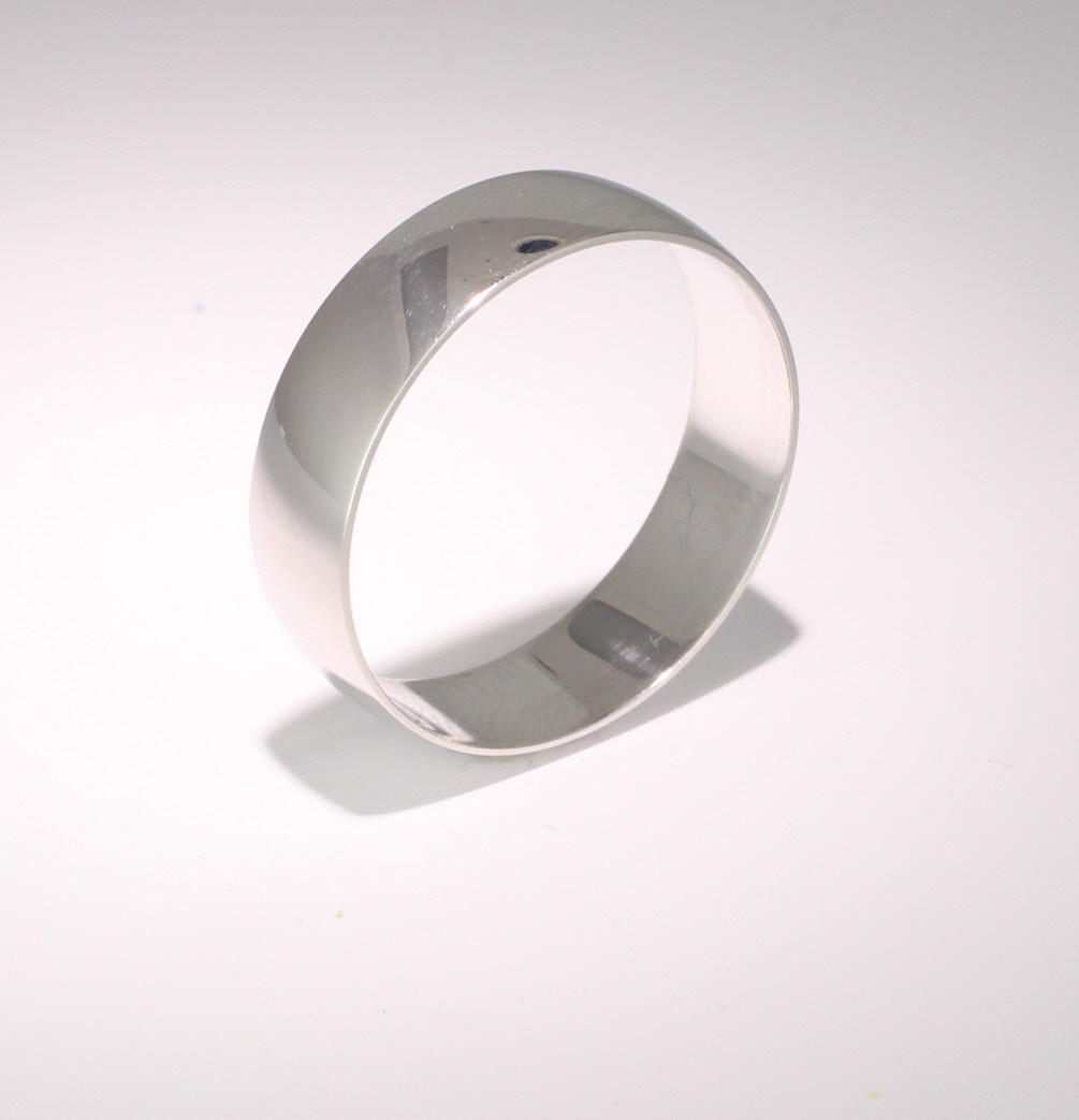 D Shape Light Weight - 6mm (PLD6) Platinum Wedding Ring