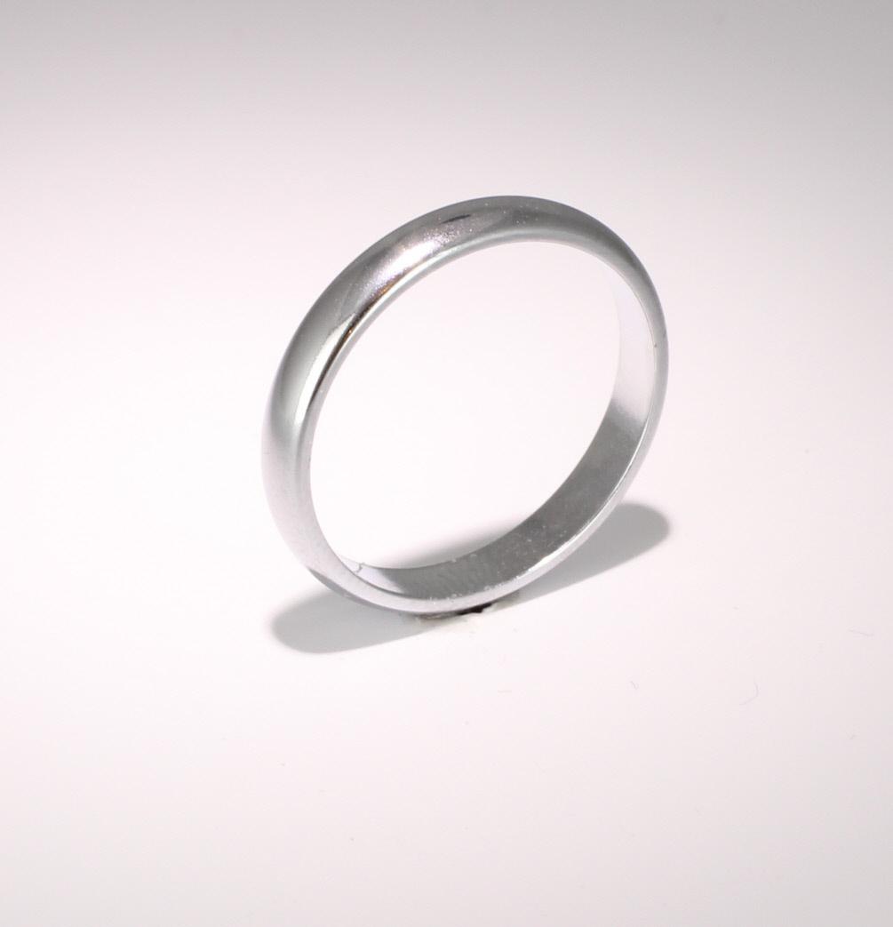 D Shape  Medium Weight -  3mm (WBDS3PAL) Palladium Wedding Ring